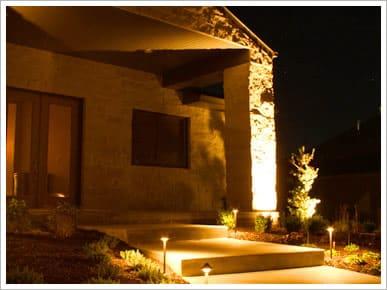 Custom landscape lighting at night