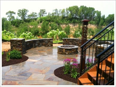 Paver patio with wrought iron elements