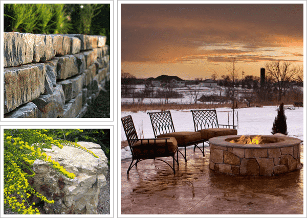 Landscape photo collage including a rock retaining wall, gorgeous stone patio with firepit and patio chairs, and a custom garden.